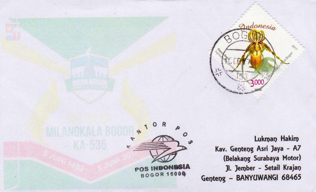 Bogor (10.06.17) tipe cap balok pendek dengan nomor palu 103. Cap ini dipergunakan disalah satu loket yang ada di Kantor Pos Bogor, Jl, Juanda.